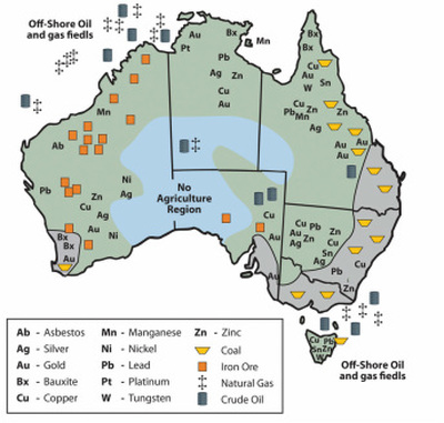 Australia Map Natural Features.Natural Resources Australia S Remarkable Features